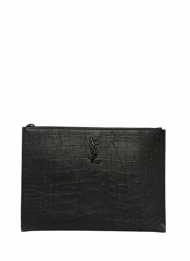Saint Laurent Saint Laurent Monogram  Logolu Erkek Deri El Çantası 101622126 Siyah